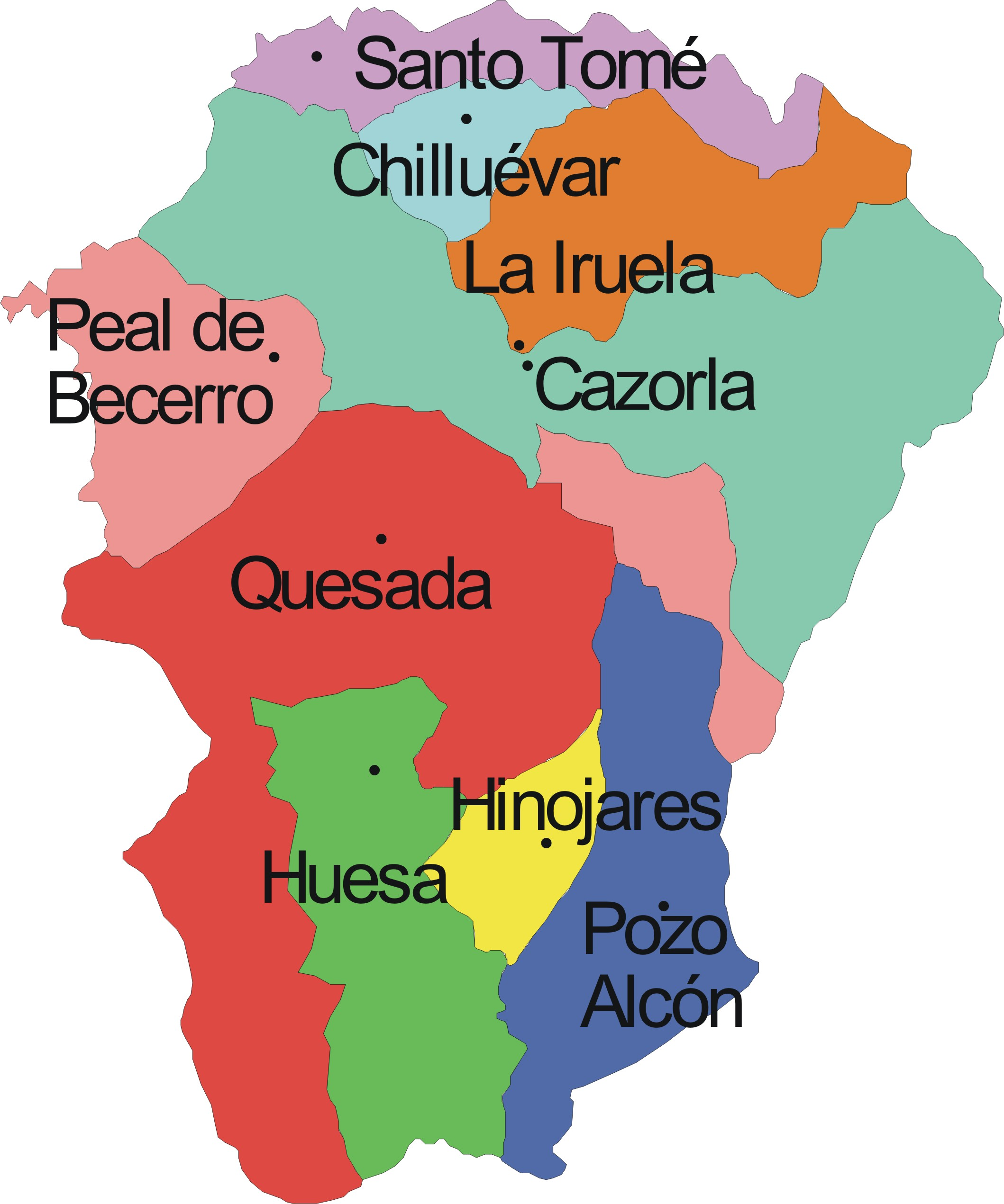 Municipios Comarca SIERRA DE CAZORLA