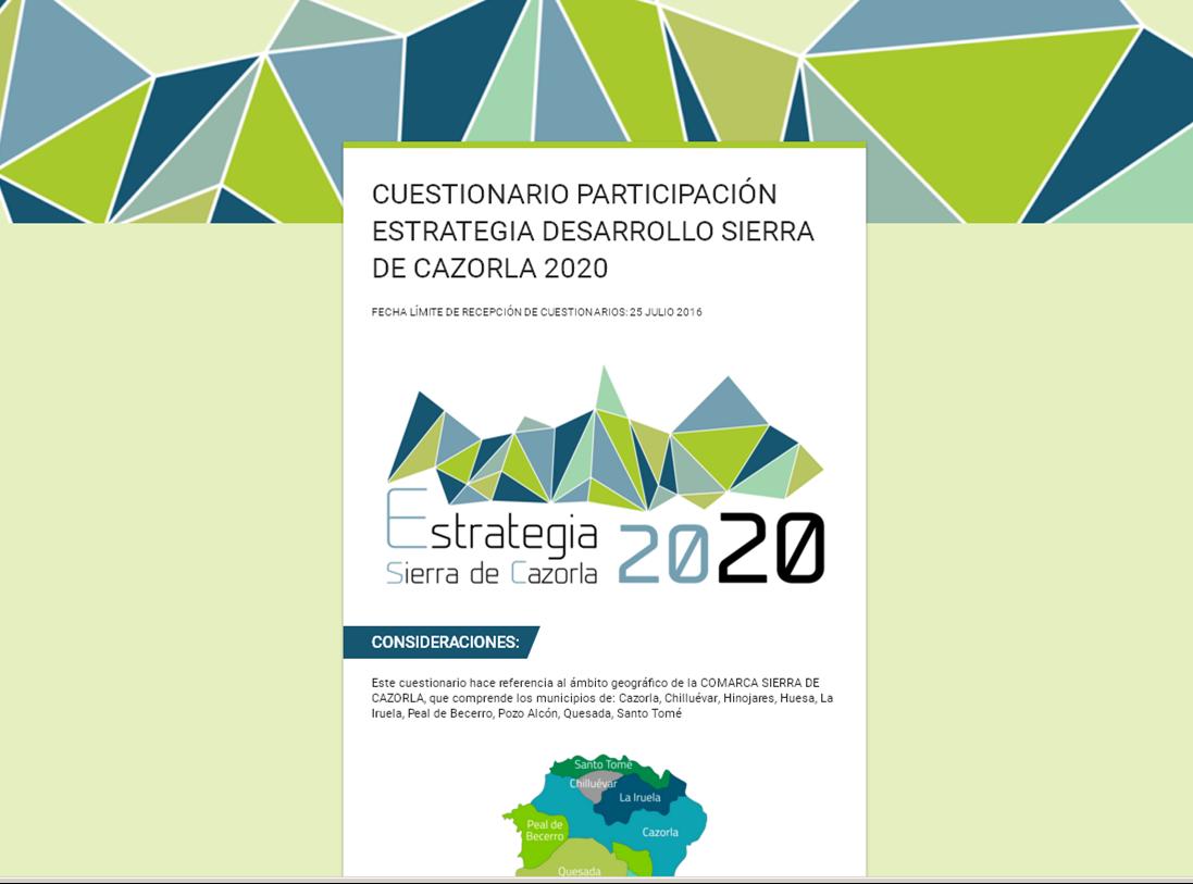 Cuestionario ESTRATEGIA 2020 SIERRA CAZORLA